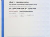 Hệ thống quản lý môi trường của Gỗ Minh Long đạt tiêu chuẩn ISO 14001:2015