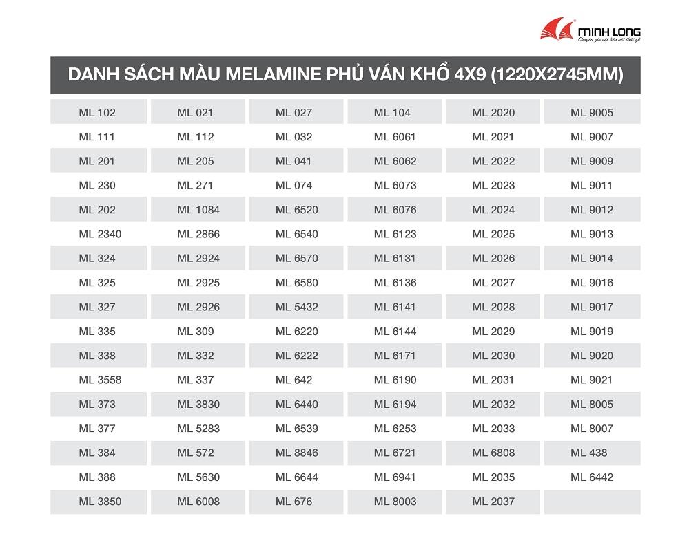 danh sách màu ván 4x9_ Gỗ Minh Long_22.08.2020