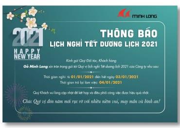 Lịch nghỉ tết dương lịch - Gỗ Minh Long